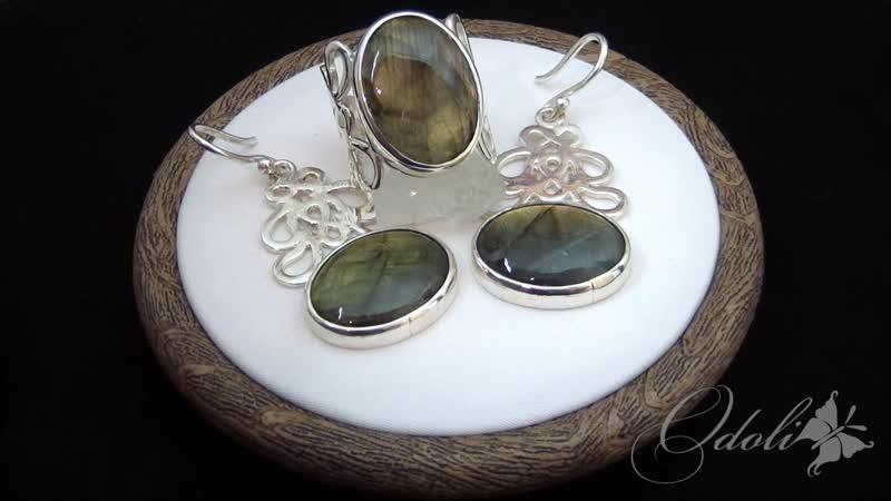 Серебряное кольцо с лабрадоритом Glow paisley