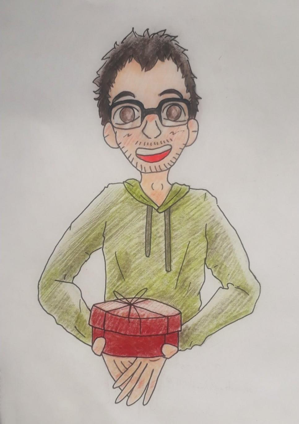 Невысокий круглолицый мужчина лет тридцати (карие глаза, короткие тёмные волосы, очки, зелёная толстовка с капюшоном) доброжелательным жестом протягивает перед собой красную округлую коробку, внутри которой находится торт.