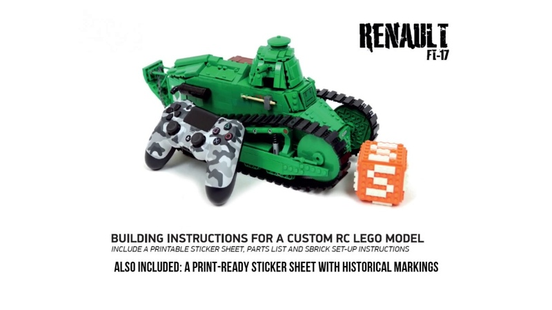 Build your own LEGO RC Renault FT 17 tank building instructions now available