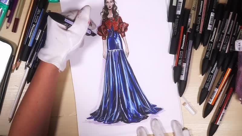 SILK A-LINE SKIRT EMBELLISHED SWEATER. Johanna Ortiz_ Fashion Illustration Tutor