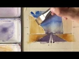 City Scape Watercolor Painting with Road- by Chris Petri