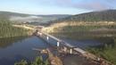 Строительство моста через реку Уфа Караидель Республика Башкортостан Июль 2018 год