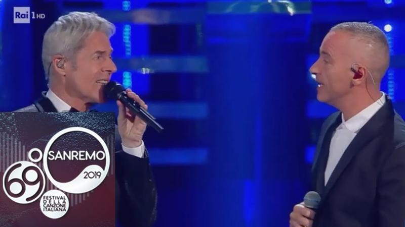 Sanremo 2019 - Eros Ramazzotti e Claudio Baglioni cantano Adesso tu