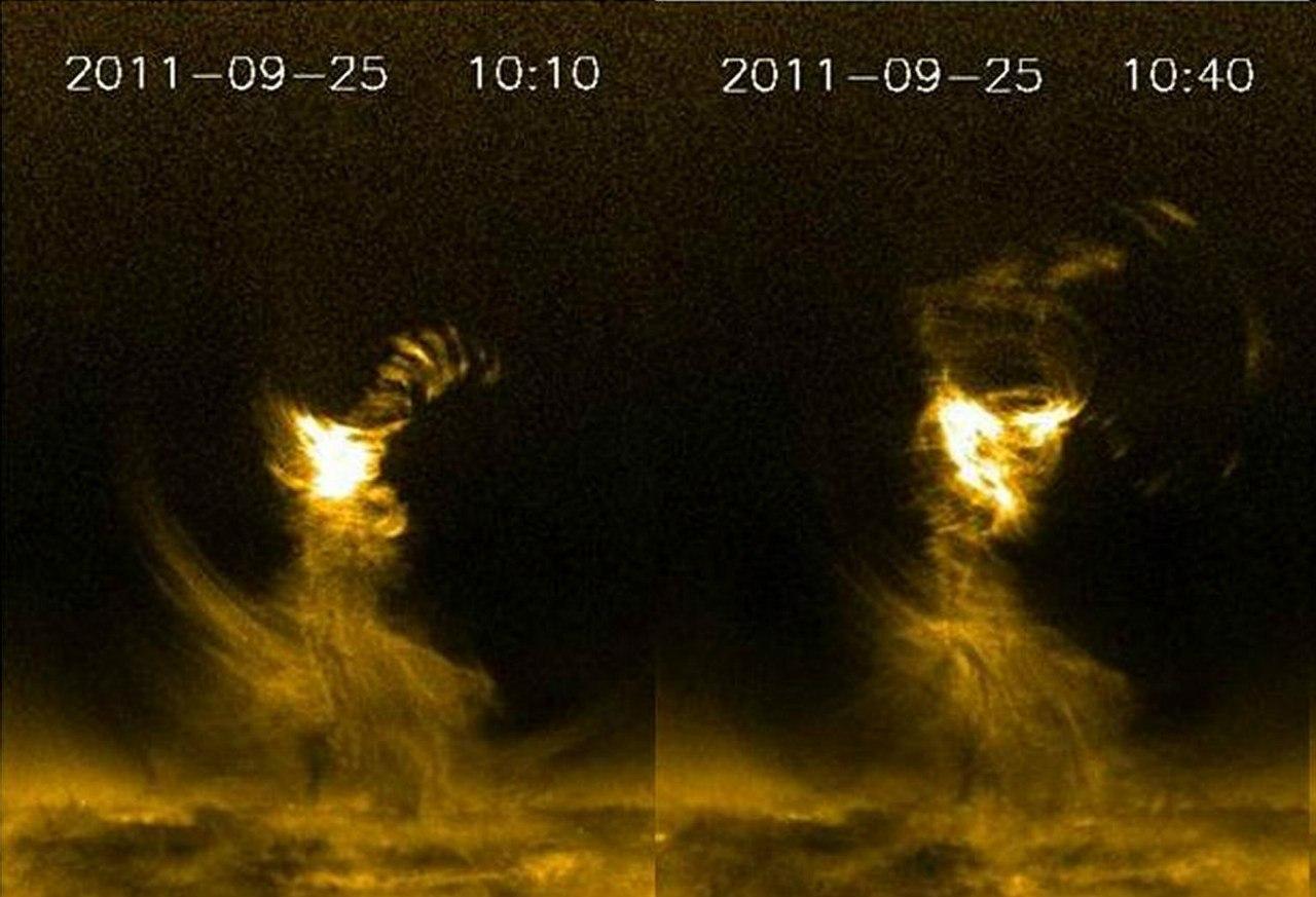Огромное солнечное «торнадо», которое было замечено 25 сентября 2011 года.