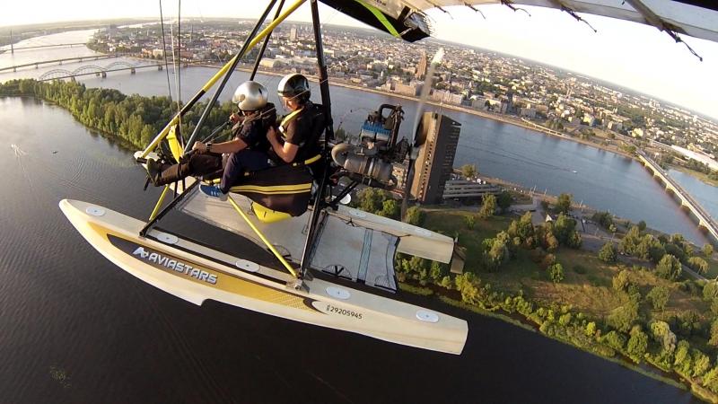 Полёт на дельтаплане над Ригой.