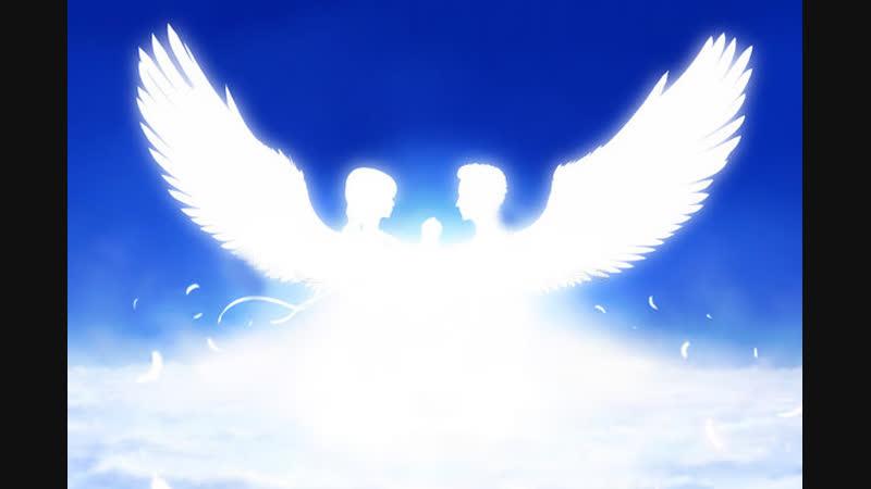 Два ангела забирают душу праведницы.