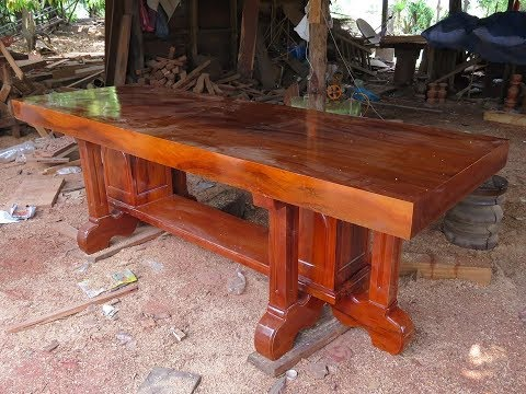ABC Woodworking _ Giant Wooden Table Walnut slab and white oak dining table 2018