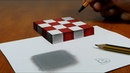 3D Trick Art on Paper Floating chess