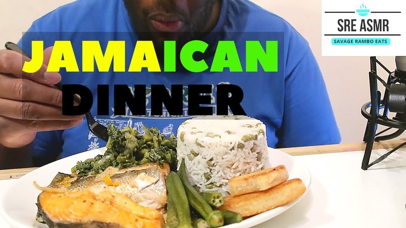 ASMR Jamaican Steam Fish, Callaloo, Okra, Gungo Rice Peas and Fry Bammy NO TALKING EATING SOUNDS