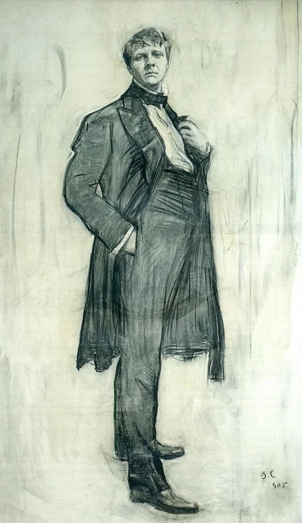 Портрет Ф.И. Шаляпина, написанный углём. Художник - В.А. Серов.