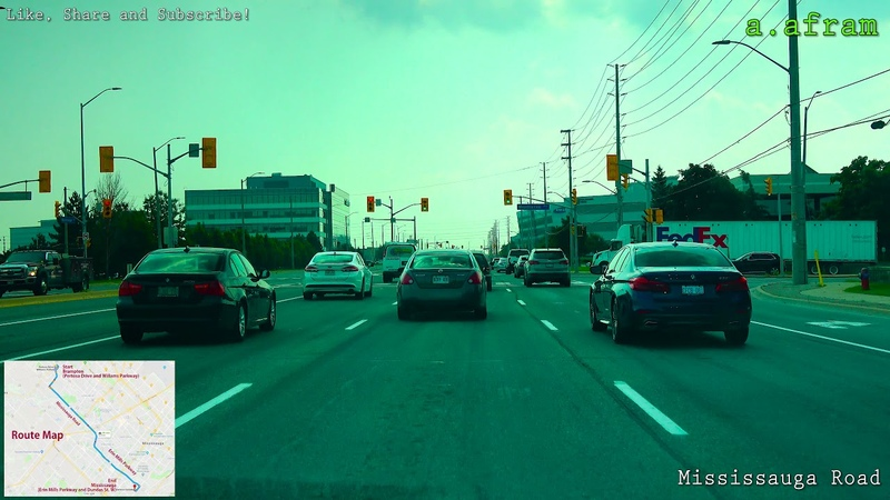 Driving to Citizenship and Immigration Canada (CIC) in Mississauga from Brampton Ontario Canada 4K