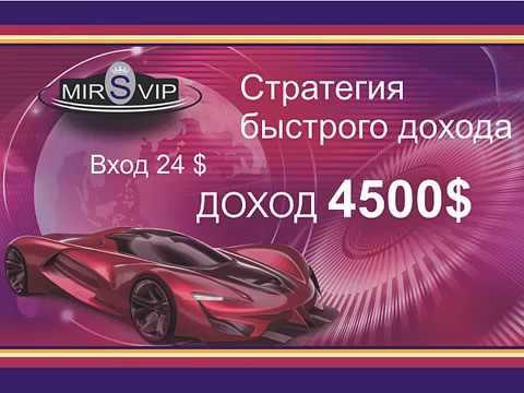 Сервис MIRSVIP Стратегия быстрого заработка