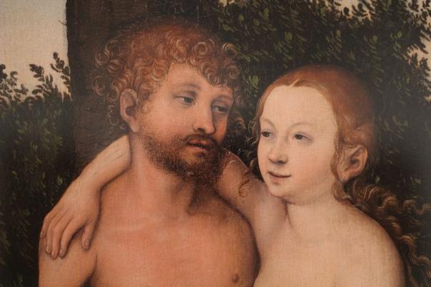Фрагмент работы «Адам и Ева. Грехопадение» Живописец Лукaс Кранах Старший, 1527 год.