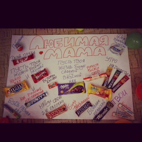 Плакат из конфет маме на день рождения своими руками 388