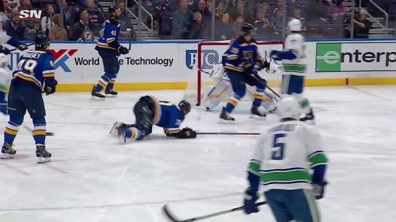 Brock Boeser nets bizarre goal off glass and Jake Allens pad