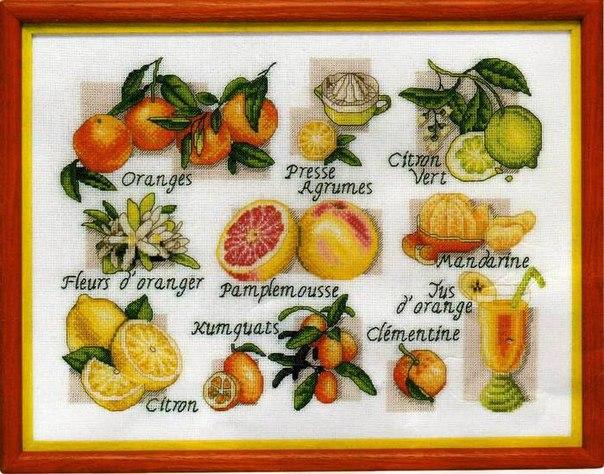Вышивка крестом ягоды и фрукты