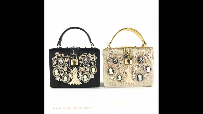 Vogue Fair Retro Velvet Handbag Metal Carved Tree Stylish Banquet Party Purse