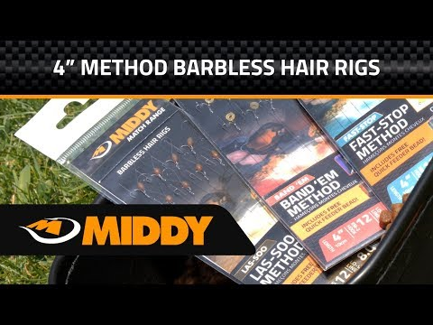 Middy 4 inch Barbless Ready Tied Method Hair Rigs - Las-soo, Band 'Em and Fast-Stop
