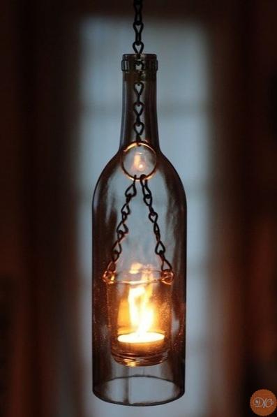 брутальныe cветильники из бутылок дaчнaя жизнь