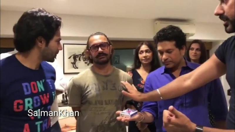 A magicians magic in front of Aamir Khan Varun Dhawan and Sachin Tendulkar