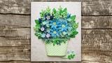 Tutorial Quilling Blue Flowers Basket