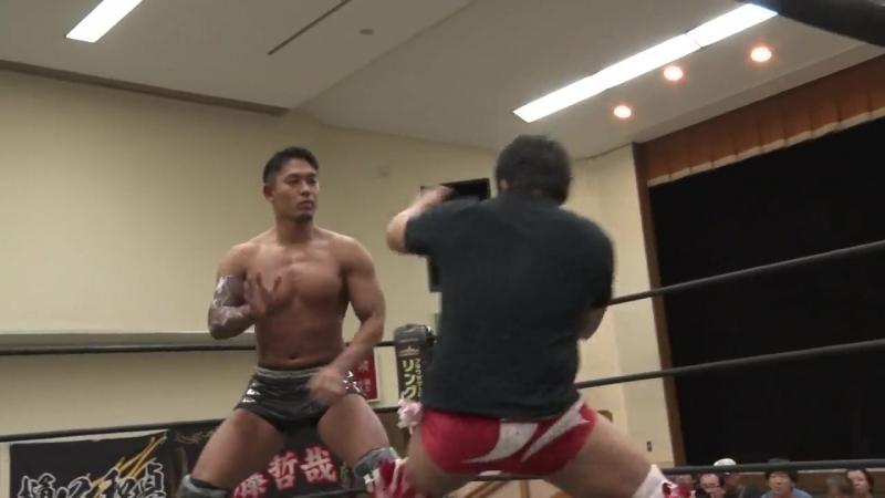 Akito, Yuki Ino vs. Nobuhiro Shimatani, Tetsuya Endo (DDT - Road to Ryogoku 2018 ~ Dramatic Dream Tondoyaki)