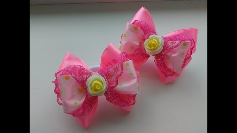 Бантики Канзаши из лент Мастер Класс Bows of ribbon Kanzashi Master Class