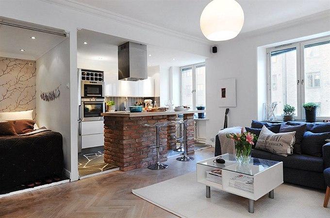 Перепланировка: студия из 1-комнатной квартиры 42 м в Гётеборге / Швеция - http://kvartirastudio.