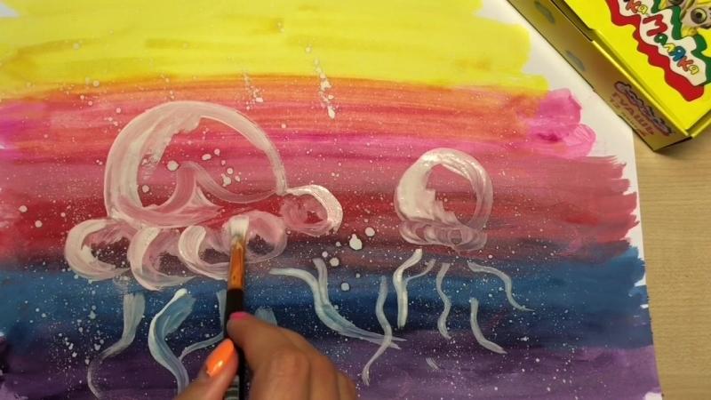 Рисуем медуз гуашью с золотом и серебром Каляка-Маляка