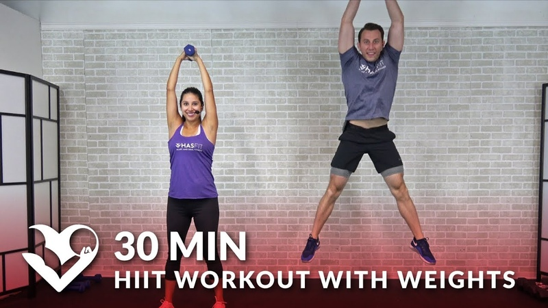30-минутная тренировка ВИИТ с гантелями. 30 Minute HIIT Workout with Weights - Total Body 30 Min HIIT at Home with Dumbbells for Men Women