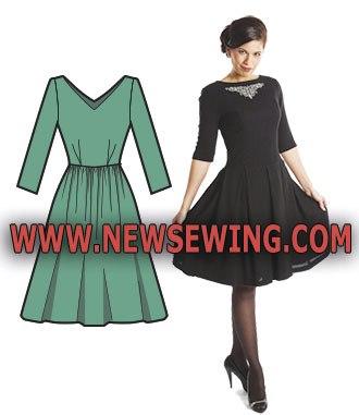Выкройка платья с длинным рукавом и пышной юбкой