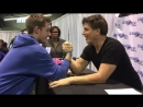 Arm wrestling with the boys? Oh Yeah! @heroesfanfest Chicago MichiganBoys JB
