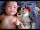 Младенец и кот