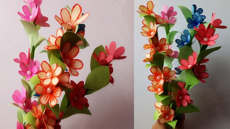 DIY: How to Make Beautiful Paper Flower Stick. Room Decoration Idea...