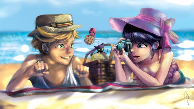 Леди баг и супер кот на пляже