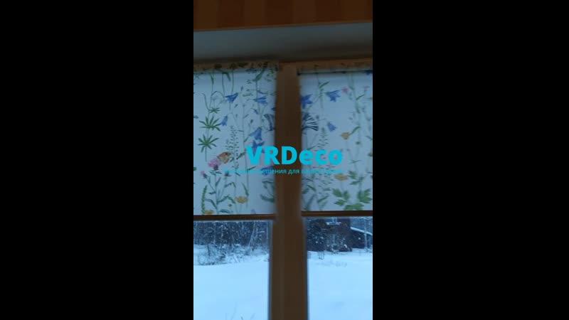 Рулонные шторы Мини с тканью Флора белый