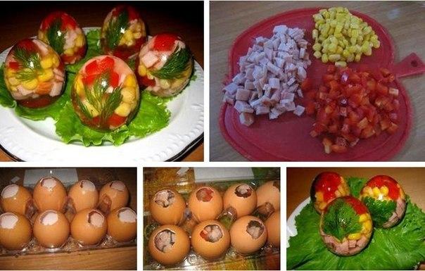 Это замысловатое блюдо доступно каждой хозяйке, нужно лишь желание. Заливные яйца это тоже произведение искусства, только кулинарного. При желании, каждое такое яйцо может стать еще и уникальным. Просто измените начинку и ее очередность, чтобы добиться нового вкуса и вида.  Продукты: - 1 маленькая банка кукурузы - 300 г ветчины.