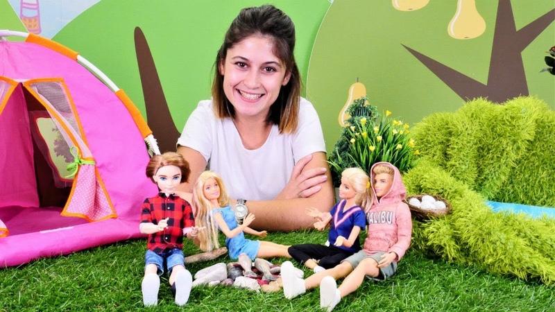 Ayşe ile kız oyunu. Barbie ailesi kamp yapıyor!