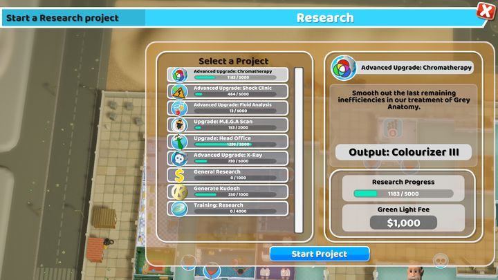 Экран исследования предоставляет Вам доступные улучшения в Two Point Hospital