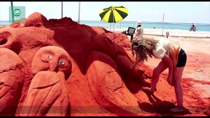 Сирия выставка скульптур из песка открылась в Латакии