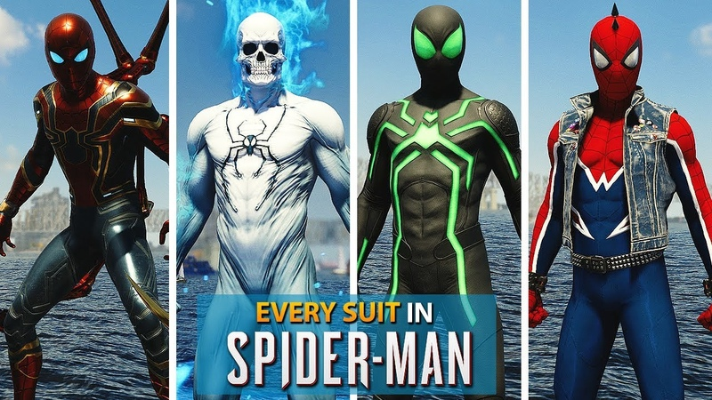 Spider-Man PS4 | ALL SUITS and Outfits with Gameplay! (Free Roam)