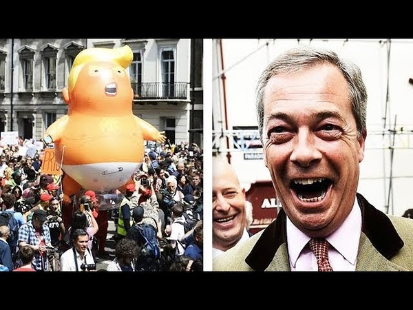 'They Are Complete Morons' Nigel Farage MOCKS Anti Trump Protestors In London