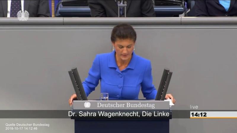 Wutrede von Dr. Sahra Wagenknecht (Linke) Frau Merkel, sie sollten lieber gehen (17.10.2018)