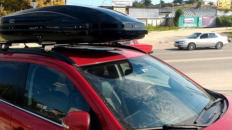 Установка автобагажника АТЛАНТ и автобокса Евродеталь Магнум 420 черный глянец на MitsubishiASX