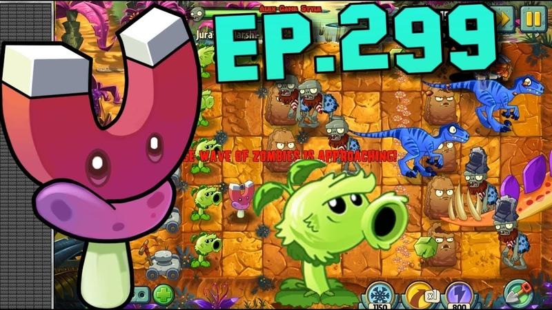 Plants vs. Zombies 2 || Magnet-shroom, Primal Wall-nut - Jurassic Marsh Day 7 (Ep.299)