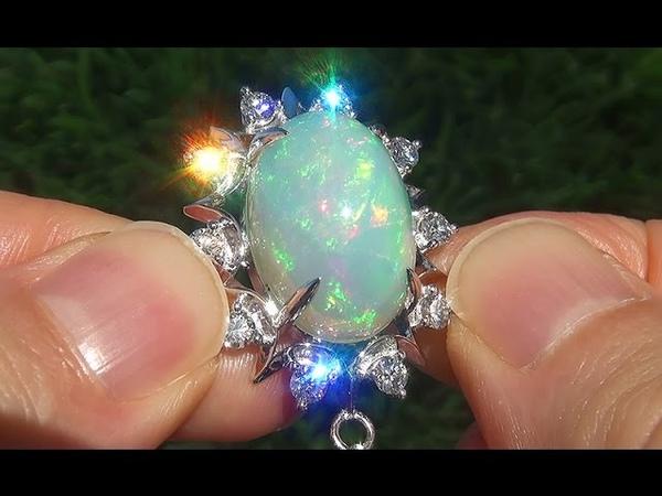GIA Certified Natural Ethiopian Opal Diamond 18k White Gold Pendant Necklace - C583