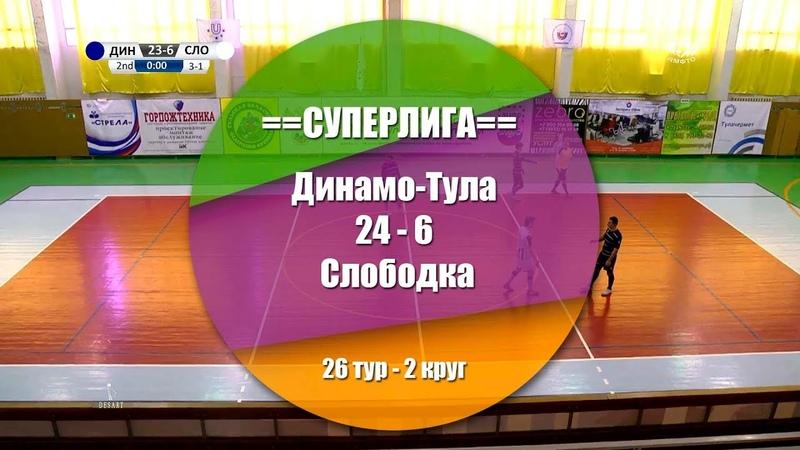 Динамо-Тула - Слободка 24:6 (5:2) Обзор матча - 26 тур СуперЛига