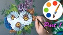 Painting daisies by flat brushes paint wildflowers tutorial part 1