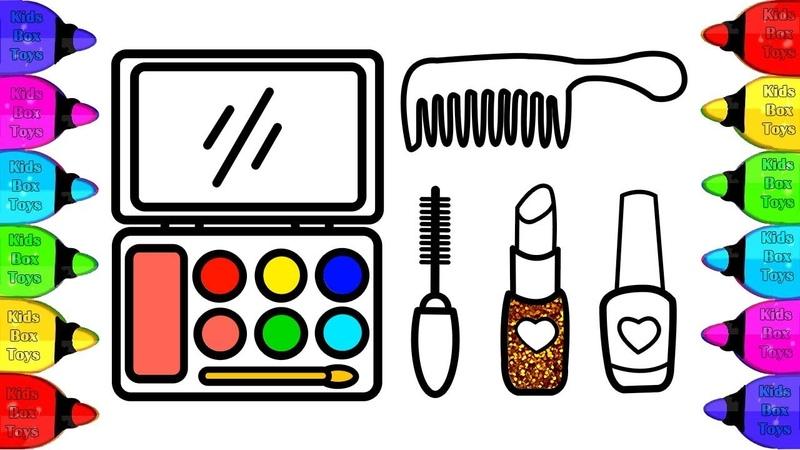Como desenhar Maquiagem Ferramenta | Desenho para crianças | Makeup Tools Drawing and Coloring