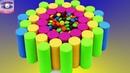 Как сделать самому Радужный Торт. Украшаем конфетами. Кинетический песок. Учим цвета. DIY